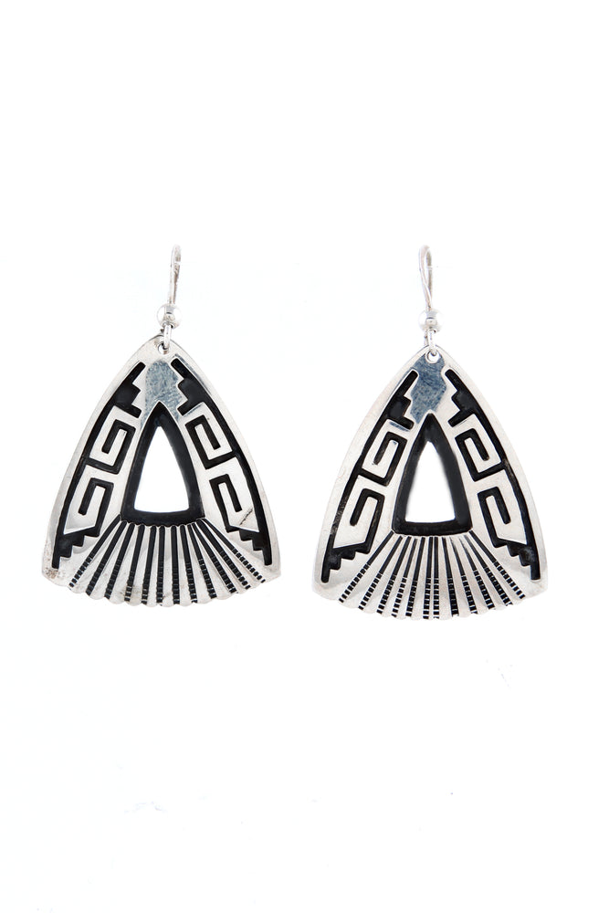 Everett and Mary Teller Triangular Silver Overlay Earrings