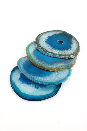 Turquoise Colored Agate Coaster Set