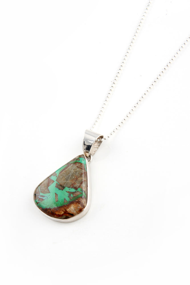 Load image into Gallery viewer, Boulder Turquoise Teardrop Pendant