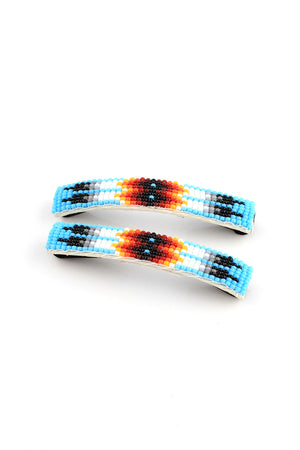 Load image into Gallery viewer, Blue Navajo Beaded Barrettes (Pair)