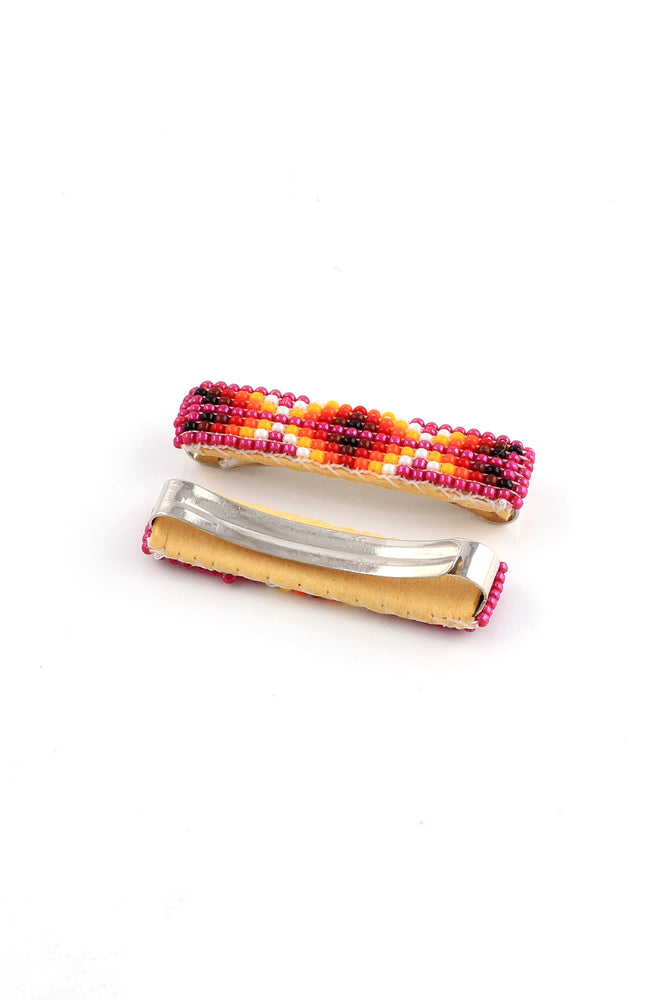 Fuscia Beaded Hair Clip