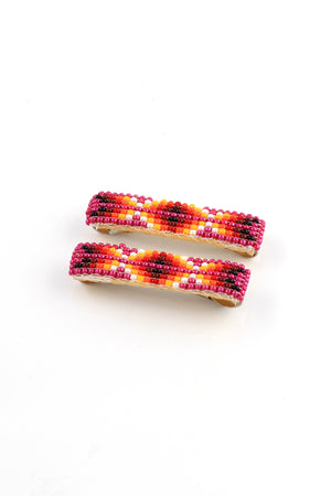 Pink Navajo Beaded Barrettes (Pair)
