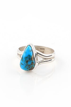 Load image into Gallery viewer, Navajo Triangle Turquoise Ring (Size 6)
