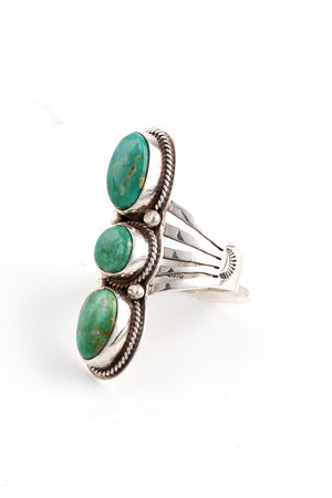 Load image into Gallery viewer, Triple Stone Green Turquoise Ring (Size 8.5)