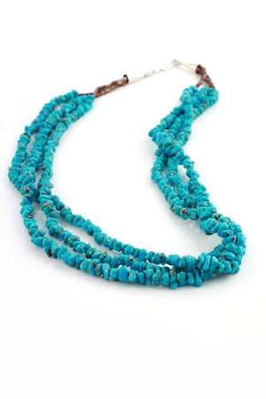 Triple Strand Turquoise Nugget Necklace