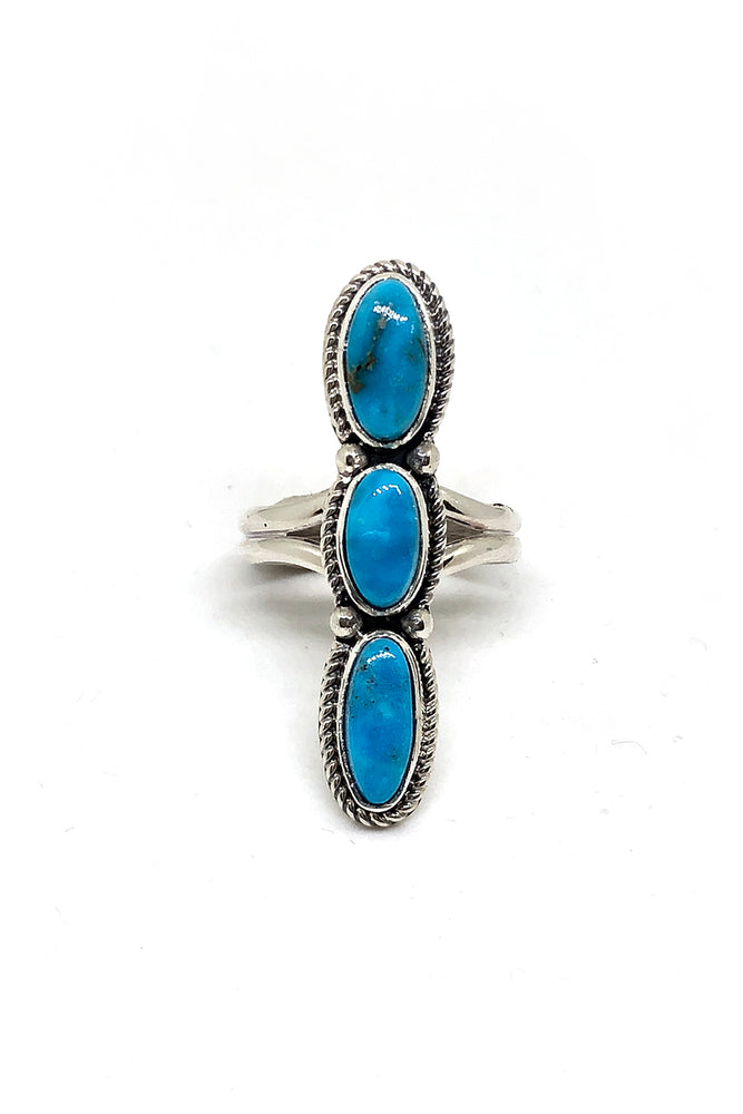 Triple Stone Long Blue Turquoise Ring (size 9)