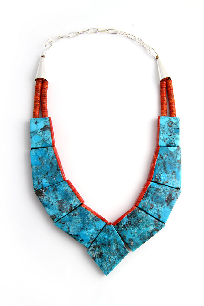 Reversible Turquoise and Coral Slab Inlay Necklace