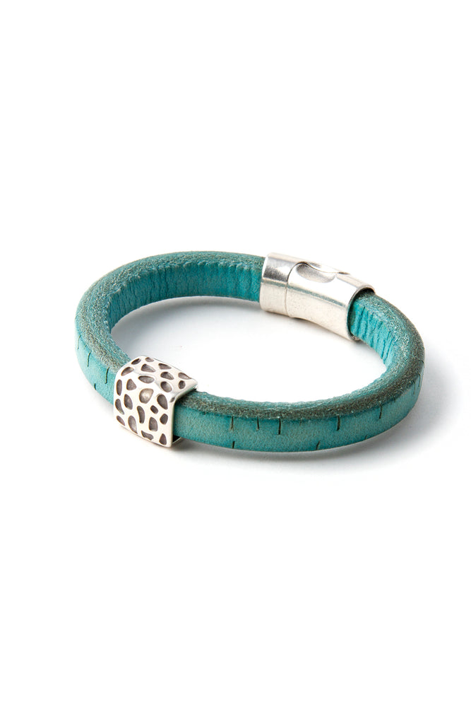 "Turquoise Station Bracelet with ""Leopard"" Pewter Accent"