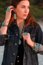 Jeff James Jr. Blue Turquoise Statement Earrings