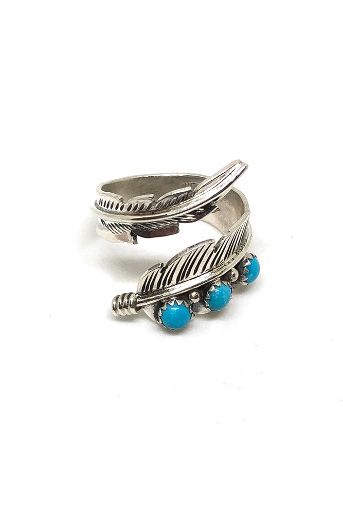 Sterling Silver and Turquoise Adjustable Feather Ring (size 9)