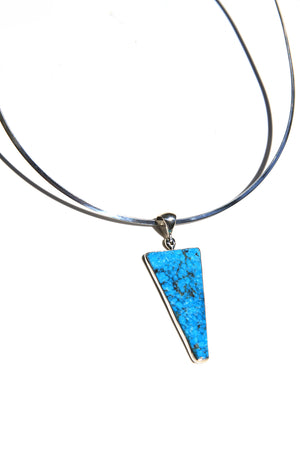 Load image into Gallery viewer, Blue Turquoise Modern Triangular Pendant