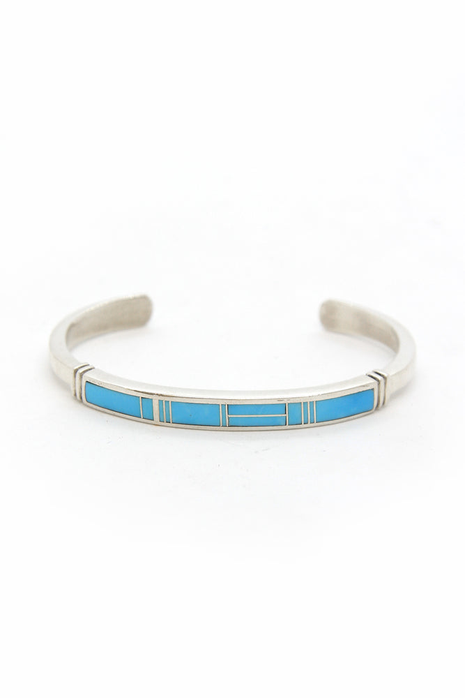 Turquoise Inlay and Sterling Silver Navajo Cuff