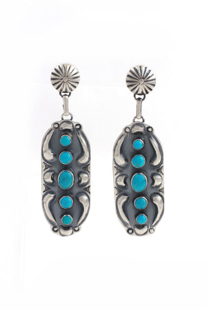 Load image into Gallery viewer, Jeff James Jr. Blue Turquoise Statement Earrings