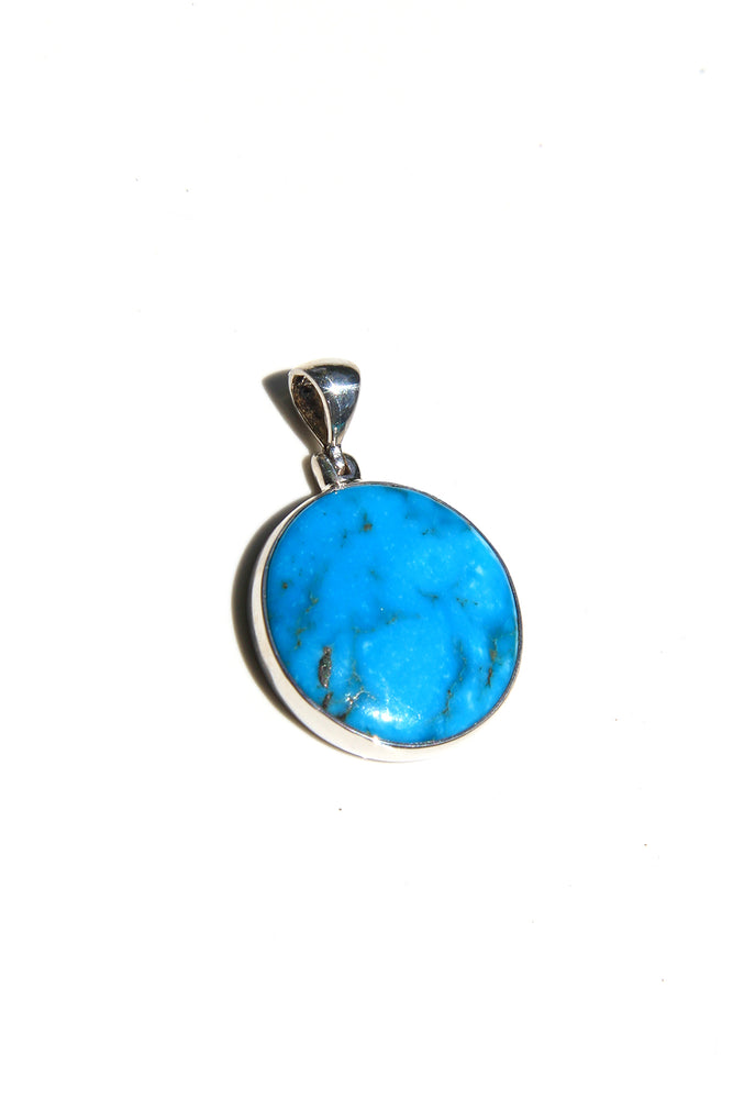 Load image into Gallery viewer, Blue Turquoise Round Pendant