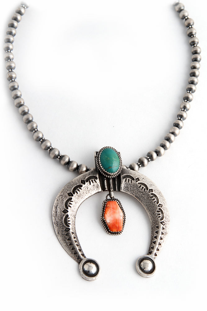 Oxidized Sterling Beads with Naja Pendant