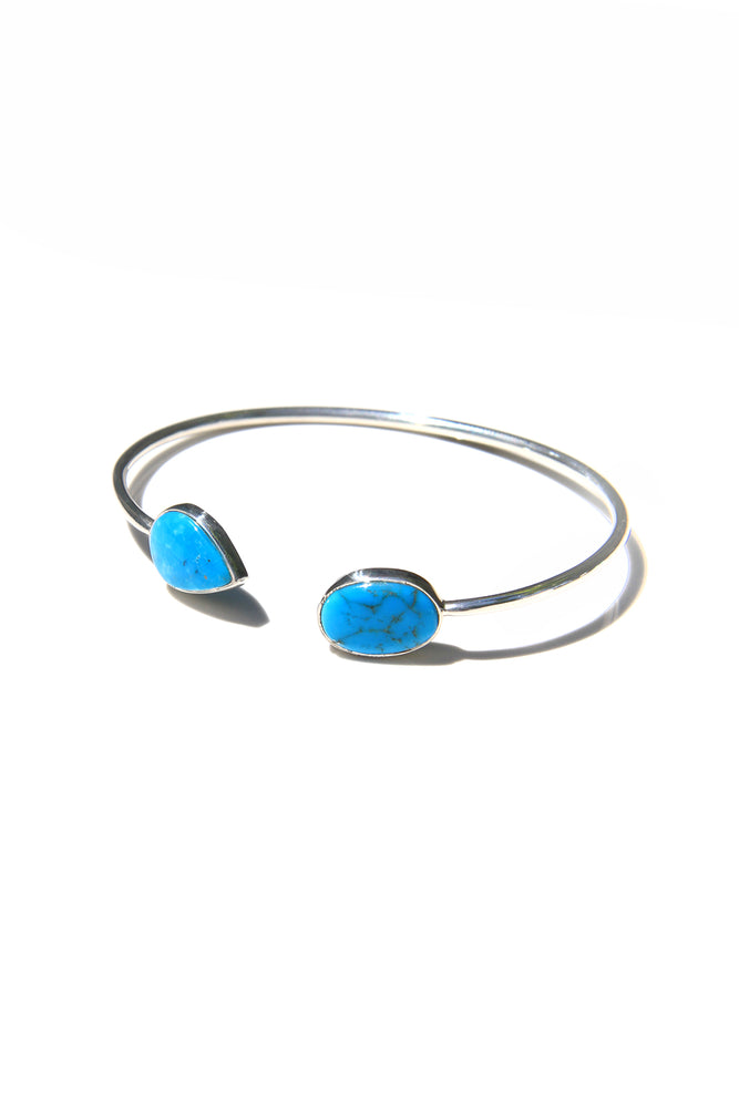 Blue Turquoise and Sterling Silver Split Bracelet