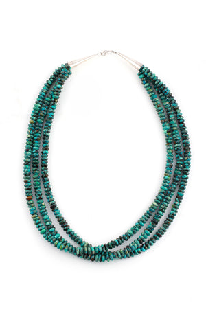 Turquoise triple strand rondelle bead necklace