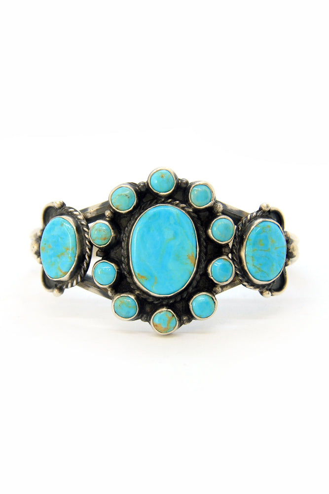 Load image into Gallery viewer, Navajo Turquoise Cluster Bracelet
