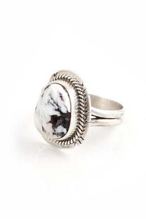 Load image into Gallery viewer, Navajo White Buffalo Turquoise Ring (Size 9)