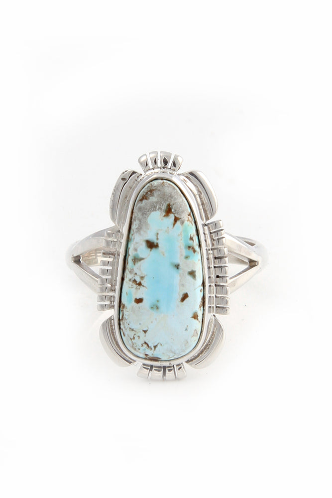 "Navajo Dry Creek White Turquoise Ring (Size 8 ¾"")"