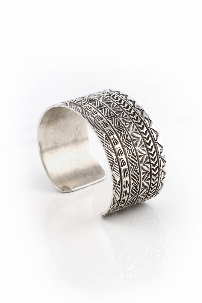 Wide Stamped Sterling Silver Cuff