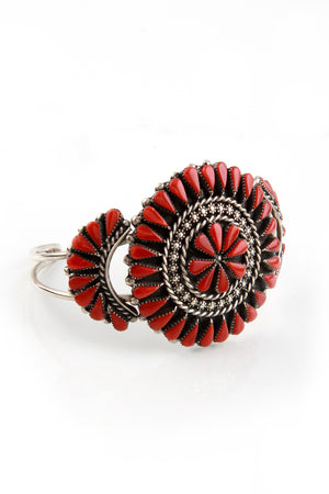 Load image into Gallery viewer, Zuni Red Coral Cluster Cuff Bracelet