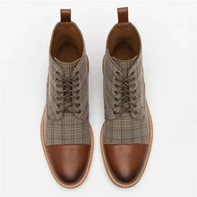 Load image into Gallery viewer, Men Shoes  Leather Plaid  Boots Lace Up