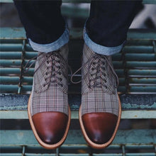 Load image into Gallery viewer, Men Shoes Leather Plaid  Boots