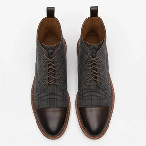 Men Shoes Leather Plaid  Boots