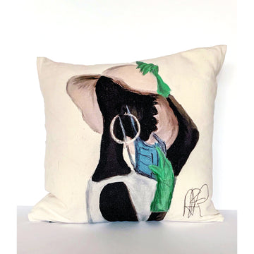 Woman with Hat and Gloves Pillow - AFRArt2U