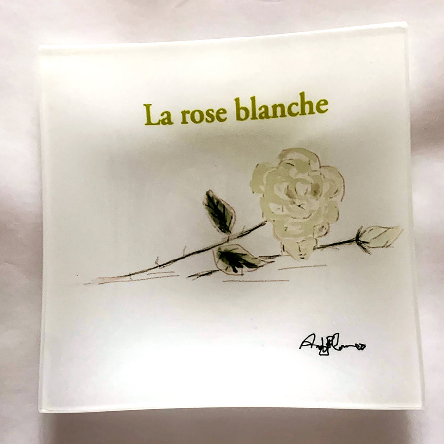 La Rose Blanche Small Square Glass Plate - AFRArt2U