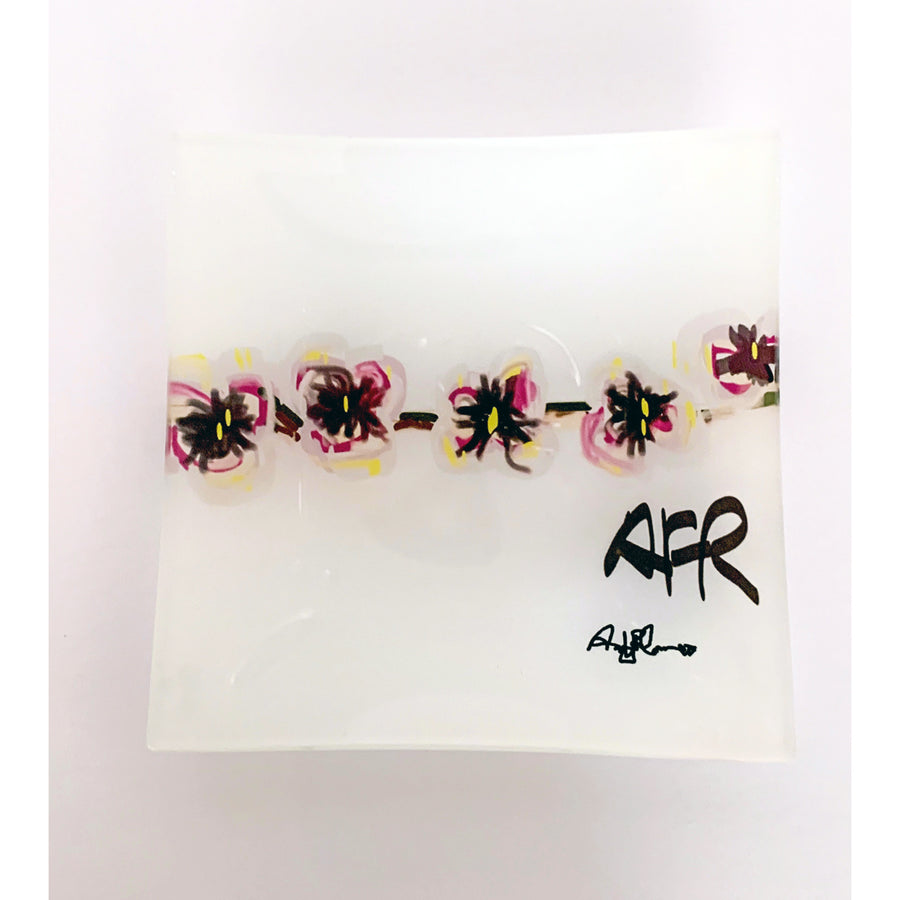 Orchid Small Square Glass Plate - AFRArt2U