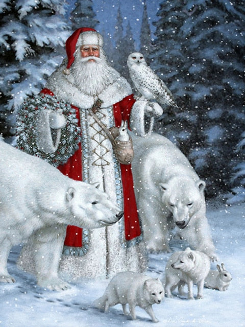 Old World Christmas Santa Claus 5D Diamond Dotz Painting DIY Full Drill Select Square Round Diamonds Arts Crafts Embroidery Rhinestone Painting Home Decoration