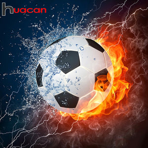 Fire & Water Soccer Ball 5D Rhinestone Painting DIY Full Drill Square Round Diamonds Arts Crafts Embroidery Inlay Diamond Painting Home Decor