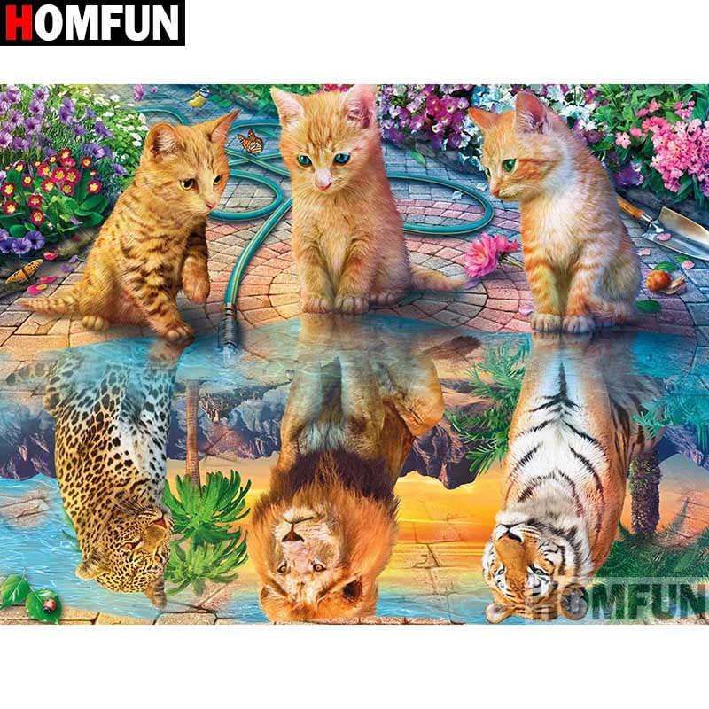 Kittens with Big Cat Reflections 5D Rhinestone Painting DIY Full Drill Select Square Round Diamonds Arts Crafts Embroidery Inlay Diamond Painting Home Decor