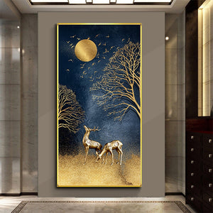 Long-panel Golden Deer Diamond Painting Kit DIY Full Drill Select Square Round Diamonds Arts Crafts Embroidery Inlay Diamond Paintings Home Decoration