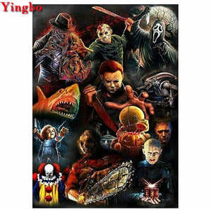 Horror Movie Villains 5D Diamond Painting Kit DIY Full Kit Drill Select Square Round Diamonds Arts Crafts Embroidery Rhinestone Paintings Home Décor