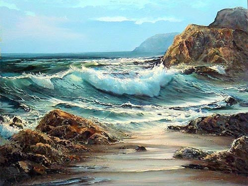 Waves Crashing on Rocky Beach 5D Crystal Painting Decorative DIY Home Decor Select Round Square Diamonds Arts & Crafts Do It Yourself Art Projects Anxiety Therapy