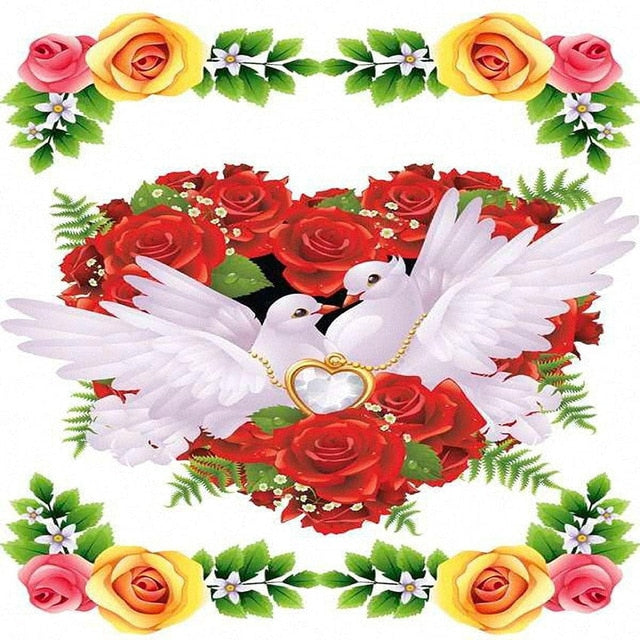 White Doves Heart Background 5D Rhinestone Painting DIY Full Drill Select Square Round Diamonds Arts Crafts Embroidery Inlay Diamond Painting Home Decor