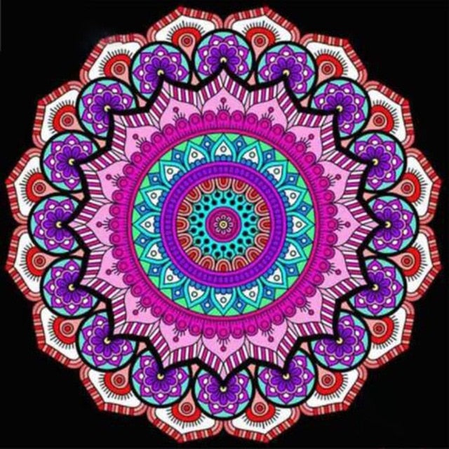 Pink & Purple Sun Mandala 5D Crystal Art Paintings Decorative DIY Home Decoration Select Round Square Inlay Diamonds Do It Yourself Project ADHD Therapy