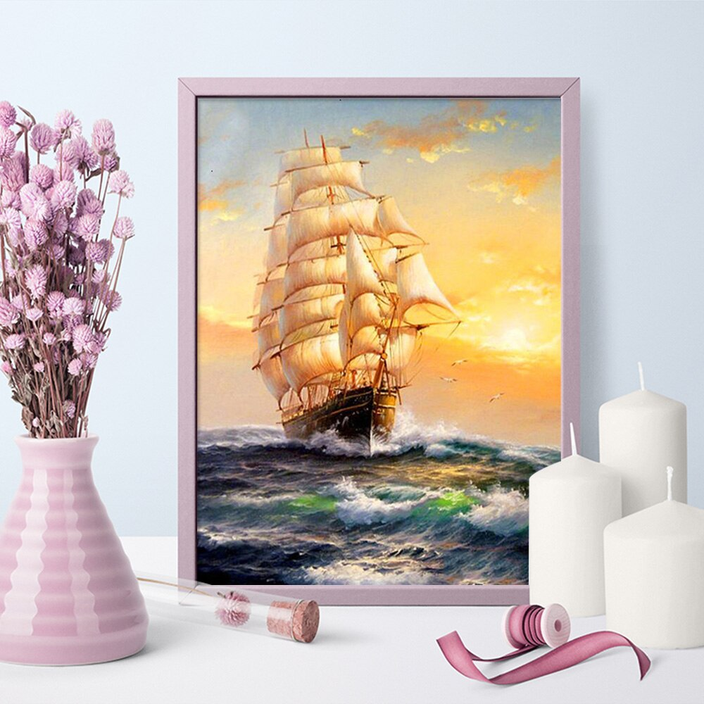 Old World Sailing Ship 5D Diamond Paintings DIY Full Drill Select Square Round Diamonds Arts Crafts Embroidery Rhinestone Paintings Home Decor