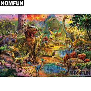 Dinosaur Forest 5D Diamond Painting DIY Full Drill Select Square Round Diamonds Arts Crafts Embroidery Inlay Rhinestone Painting Home Decoration
