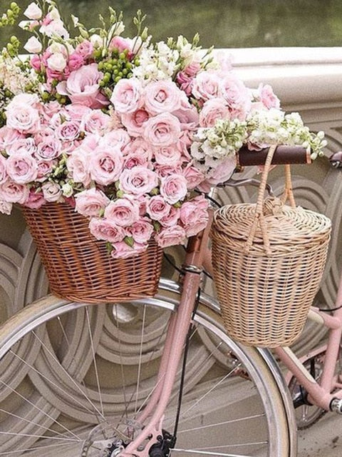 Pink Rose on a Pink Bike 5D Crystal Paintings Decorative DIY Home Decoration Select Round Square Inlay Diamonds Do It Yourself Art Project Relaxation Therapy