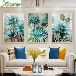 Multi-panel 3-pcs Blue Flowers 5D Diamond Painting Kit DIY Full Kit Drill Select Square Round Diamonds Arts Crafts Embroidery Rhinestone Paintings Home Décor