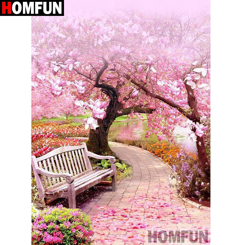 Cherry Blossom Park 5D Crystal Art Paintings Decorative DIY Home Decoration Select Round Square Inlay Diamonds Do It Yourself Project ADHD Therapy