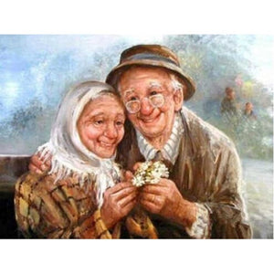 Happy Old Couple on Bench 5D Rhinestone Painting DIY Full Drill Select Square Round Diamonds Arts Crafts Embroidery Inlay Diamond Painting Home Decor