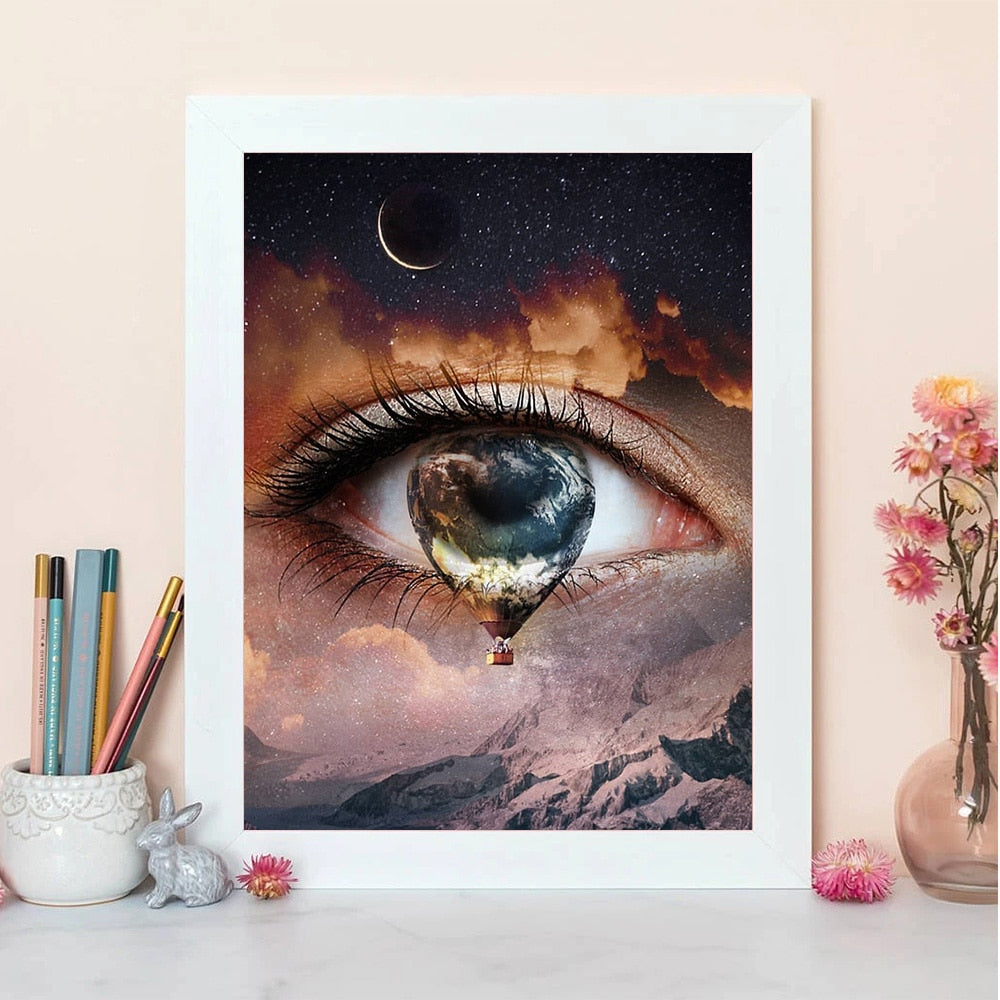 Eye Hot Air Balloon 5D Diamond Paintings DIY Full Drill Select Square Round Diamonds Arts Crafts Embroidery Rhinestone Paintings Home Decor
