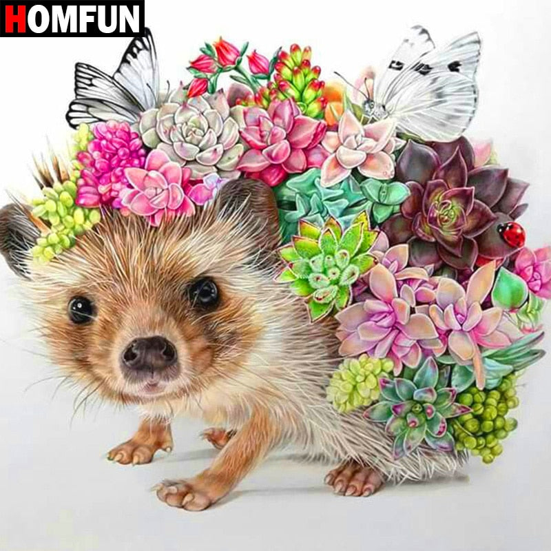 Hedgehog & Flower 5D Crystal Paintings Decorative DIY Home Decoration Select Round Square Inlay Diamonds Do It Yourself Art Project Relaxation Therapy