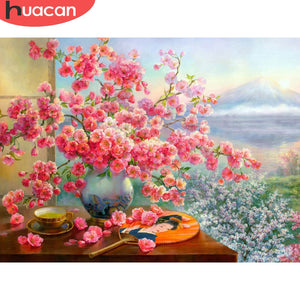 Pink Flowers Blossom 5D Diamond Dotz Painting DIY Full Drill Select Square Round Diamonds Arts Crafts Embroidery Rhinestone Painting Home Decoration