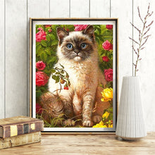 Load image into Gallery viewer, Siamese Cat Blue Eyes 5D Rhinestone Painting DIY Full Drill Select Square Round Diamonds Arts Crafts Embroidery Inlay Diamond Painting Home Decor